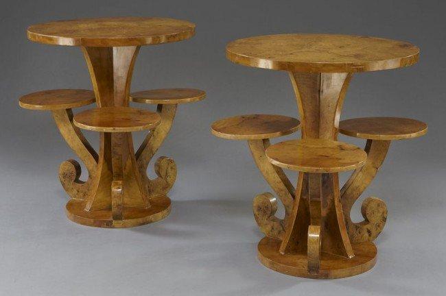 20: Pr. Art Deco style burl walnut side tables,