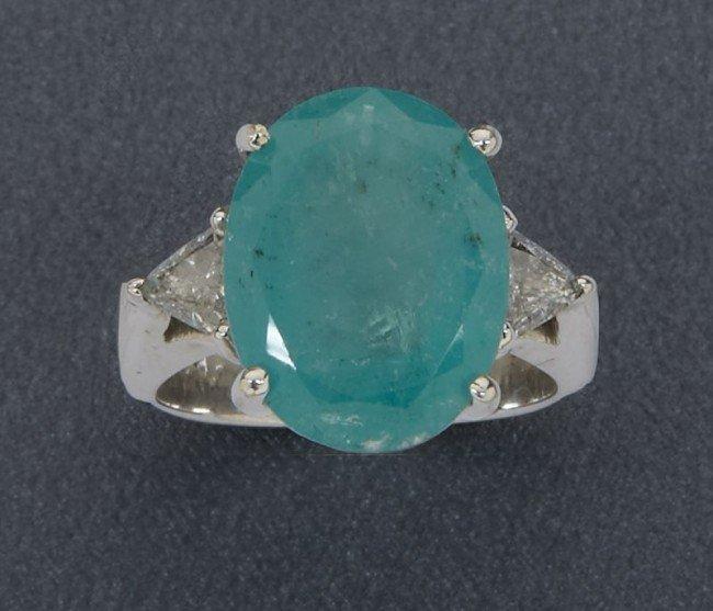 22: 18K gold, emerald and diamond dinner ring,