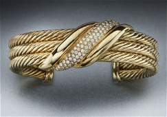 70 David Yurman 14K gold and diamond cuff bracelet