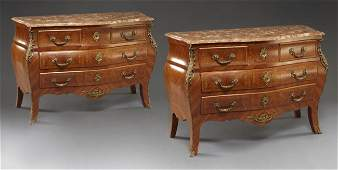 122: Pr. Louis XV style marble top commodes