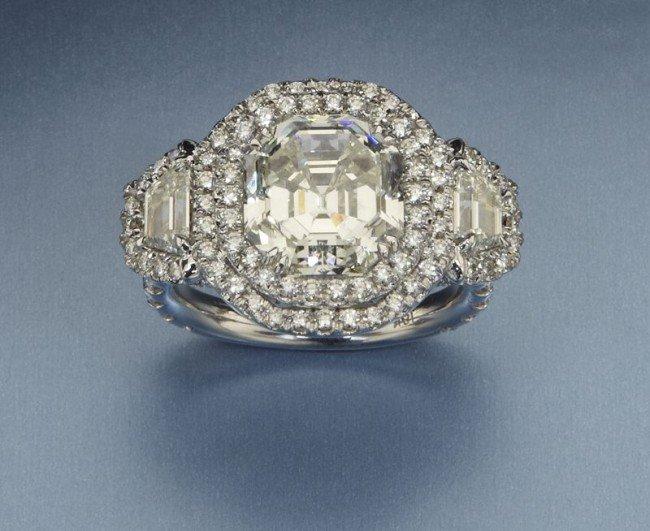 148: 5.12 Asscher cut diamond engagement ring,