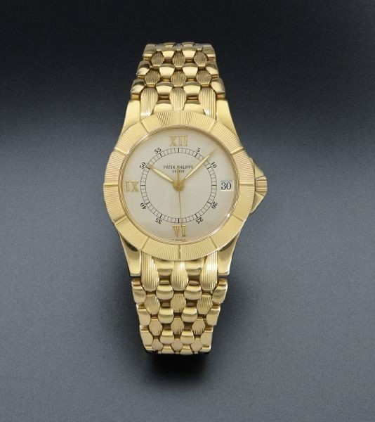 158: 18K gold Patek Philippe Neptune watch,