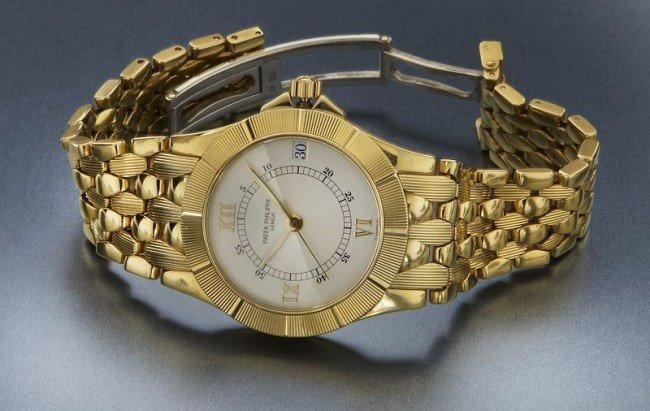 158: 18K gold Patek Philippe Neptune watch, - 2