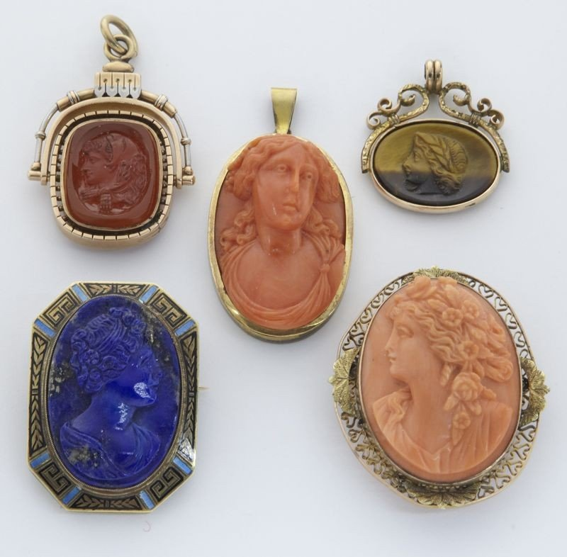 3: (5) Victorian hard stone, gold and cameo busts,