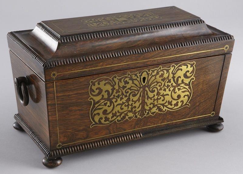 4: English Regency tea caddy of sarcophagus form,
