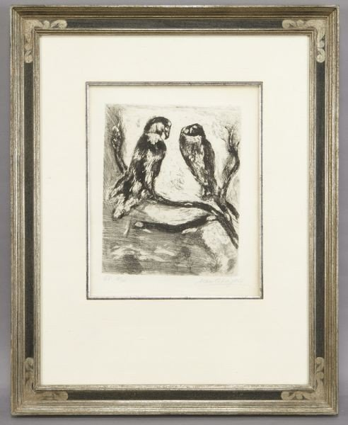"""8: Marc Chagall etching, """"The Eagle and The Owl"""""""