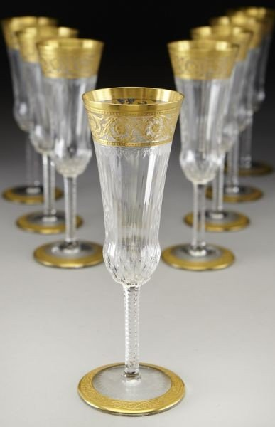 9: (8) St. Louis Crystal pattern champagne
