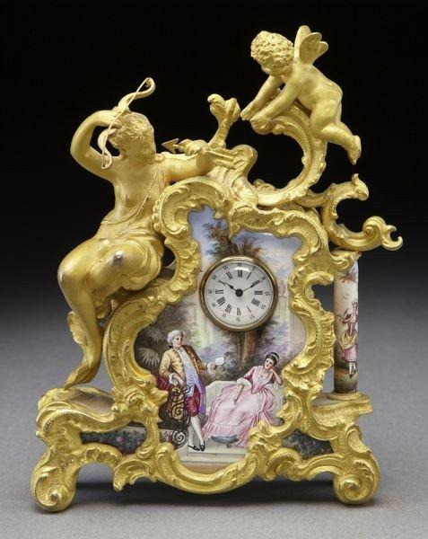 11: Miniature Limoges porcelain enamel clock