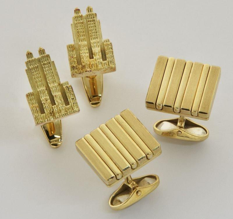 12: (2) Pr. 18K gold cuff links, (1) by ABL,