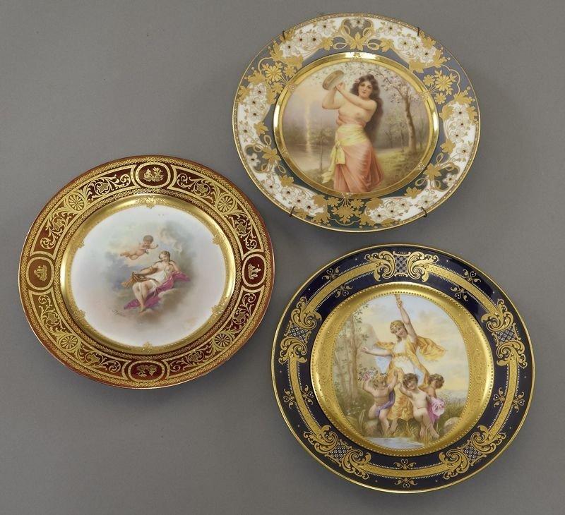 13: (3) Royal Vienna style porcelain plates,