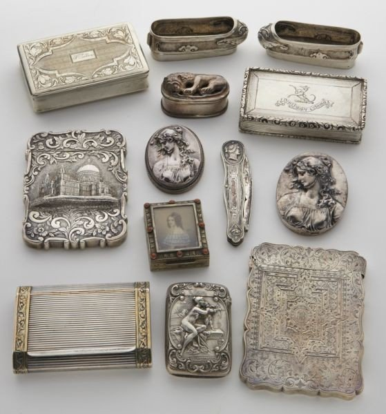 14: 13 Pcs. Antique silver collectables, card cases,