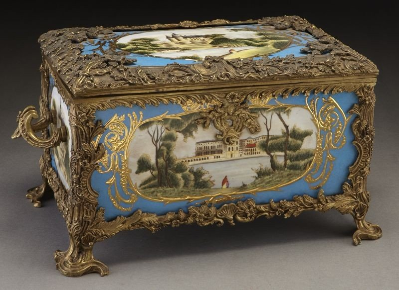 16: Sevres style ormolu mounted porcelain jewel casket