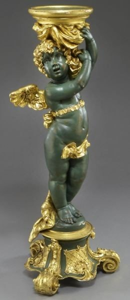 19: Parcel gilt carved wood cherub pedestal