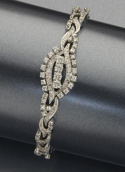 21: Retro 14K gold and diamond bracelet,