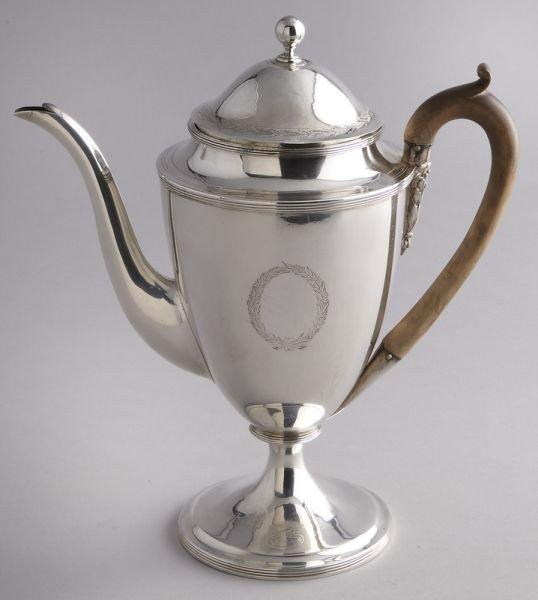 22: George III sterling silver teapot,