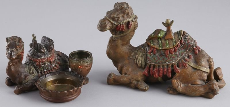 24: (2) Viennese cold painted camel figures including: