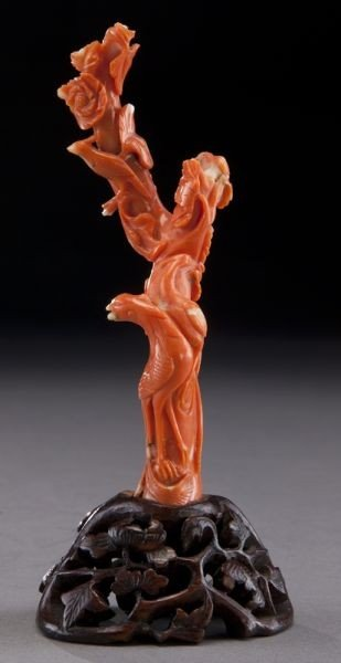 1: Chinese carved red coral figure,