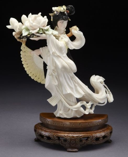 5: Chinese carved polychrome ivory figure