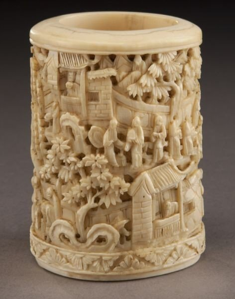 13: Chinese Qing carved Canton school ivory brush pot