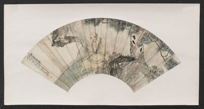 14: Chinese watercolor painted fan by Xi Ju'an