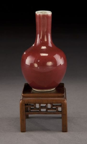 15: Chinese miniature Qing oxblood porcelain vase