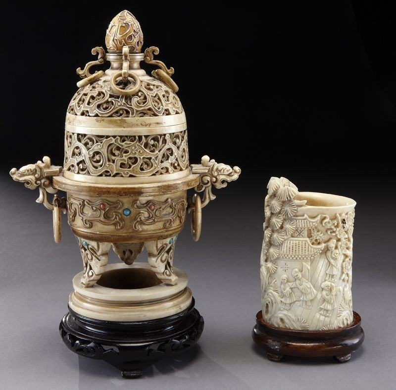 16: (2) Chinese ivory carvings including: