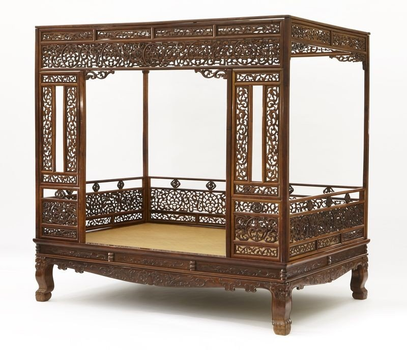 209: Rare Chinese Qing Huanghuali six-post canopy bed,