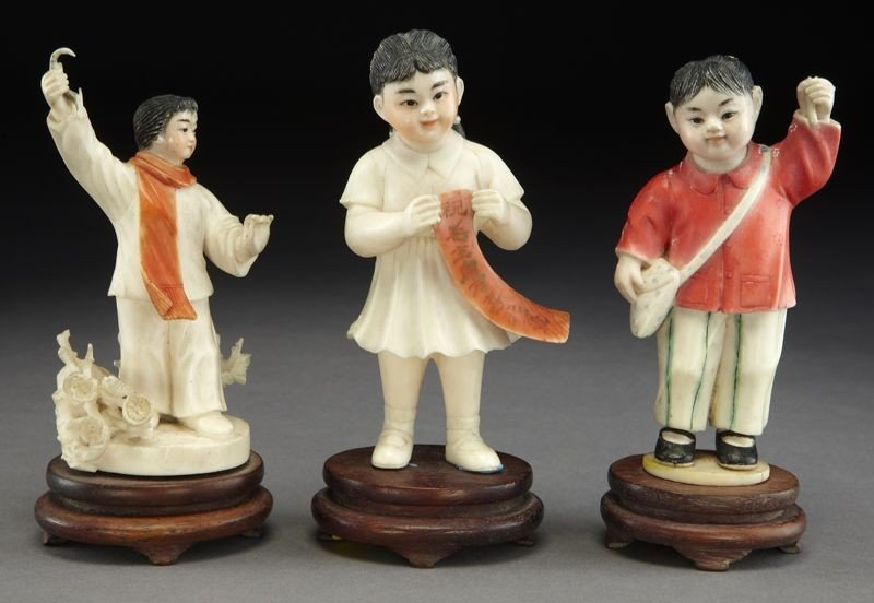 401: (3) Chinese Cultural Revolution ivory carvings: