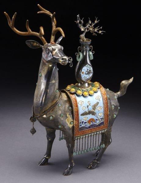 402: Chinese enamel over silver deer,