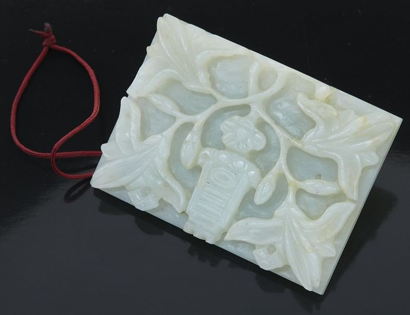 407: Chinese Ming carved jade belt buckle
