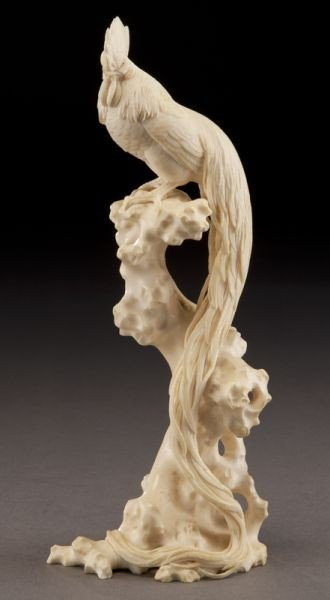 409: Chinese carved ivory rooster,