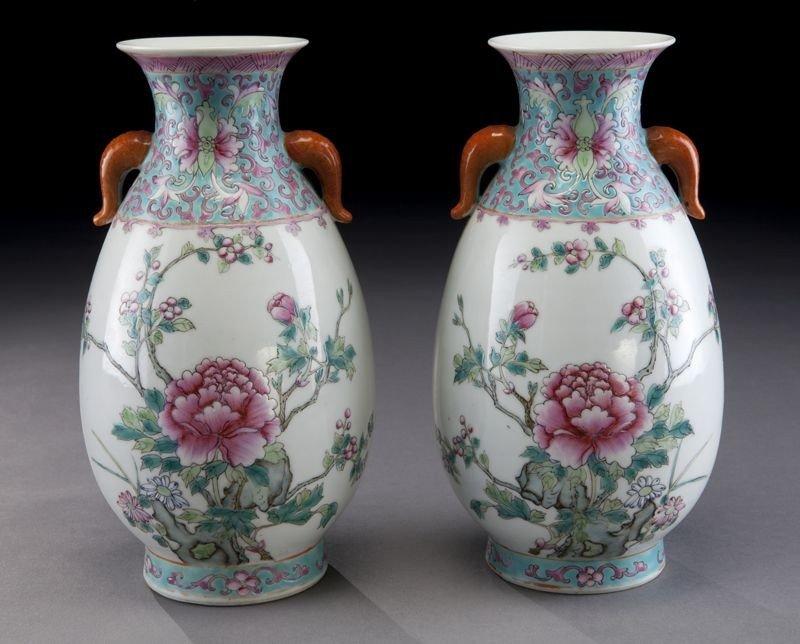 410: Pr. Chinese Republic famille rose porcelain vases,