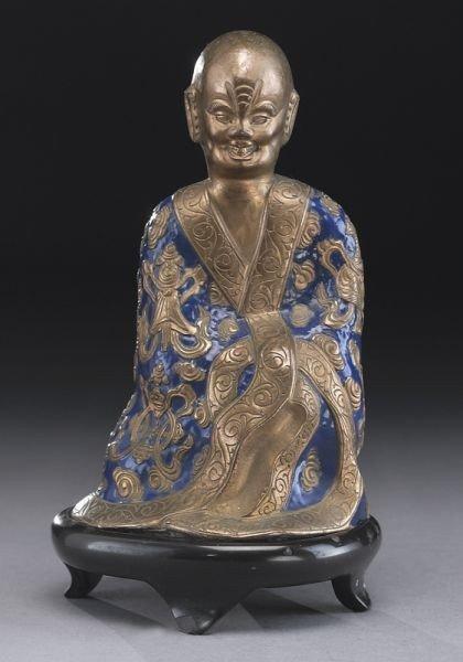 417: Chinese Qing enamel over bronze figure