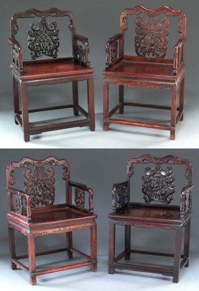 423: (4) Chinese carved rosewood chairs.