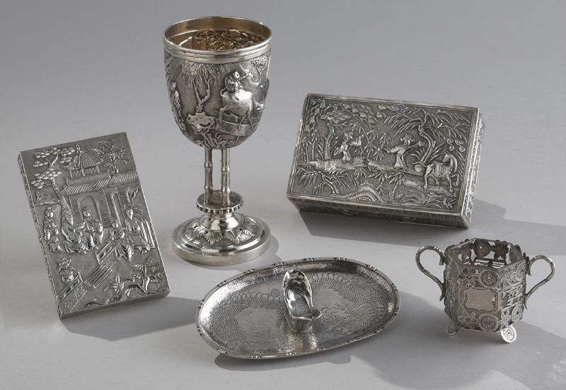 616: 5 Pcs. Chinese Qing silver including: