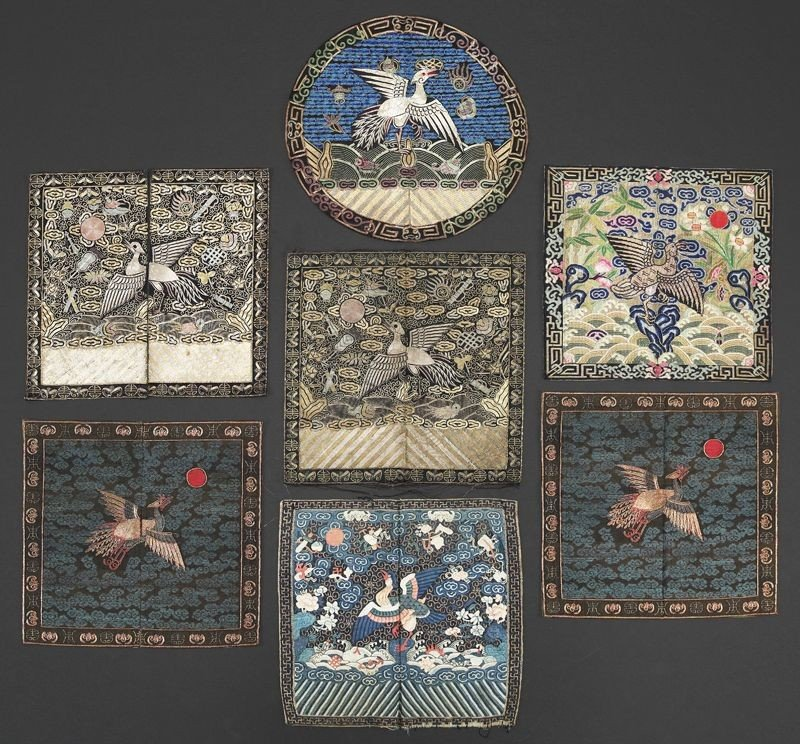 693: (7) Chinese Qing Kesi and embroidery rank badges,