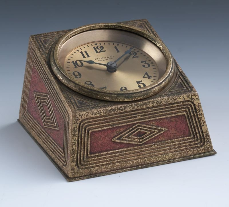 3: Tiffany Studios gilt bronze desk clock with