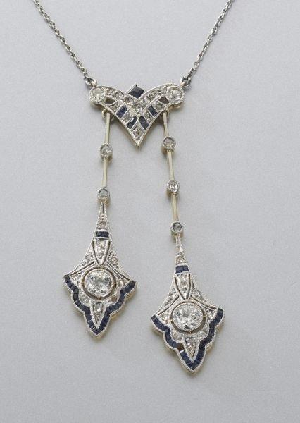 5: Victorian plat., gold, diamond, sapphire pendant
