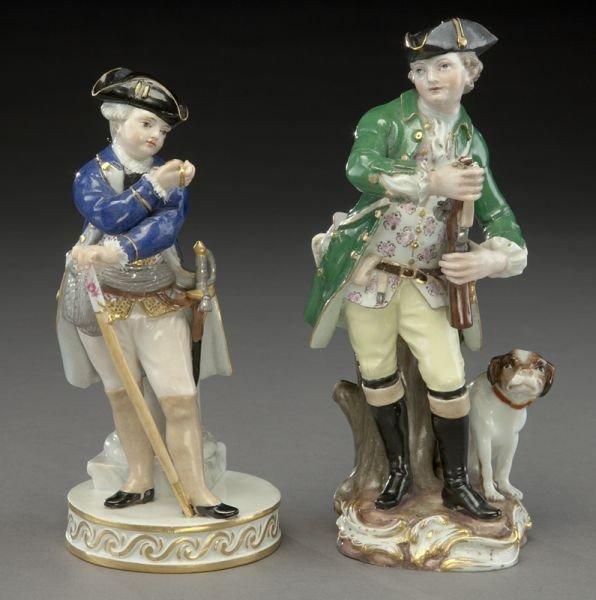 9: (2) Meissen porcelain figures,