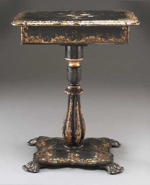 12: English Victorian papier mache sewing table