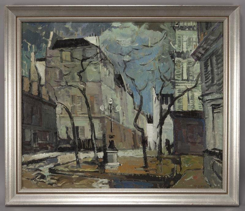 "13: Clare Bice, ""Place Furstemburg"" oil painting on"