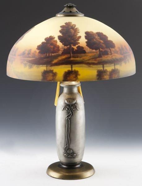 15: Phoenix reverse painted landscape table lamp