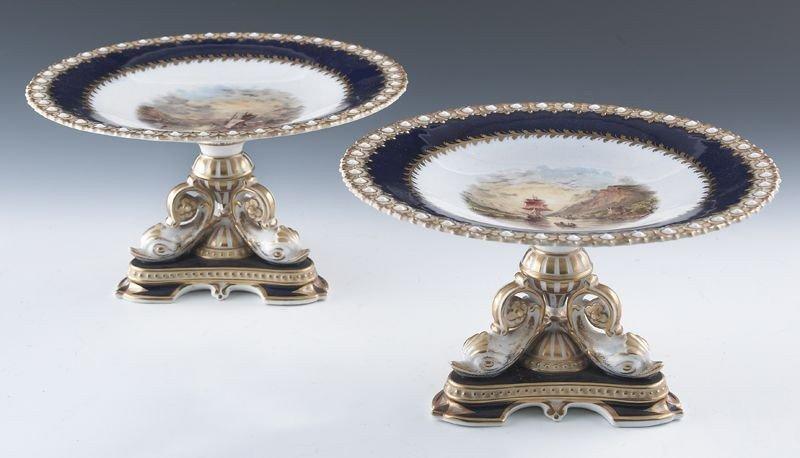 16: Pr. English porcelain compotes