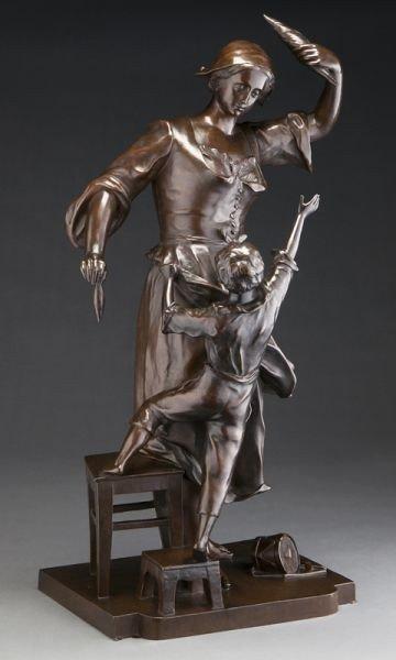 20: Antide Pechine bronze sculpture of a woman