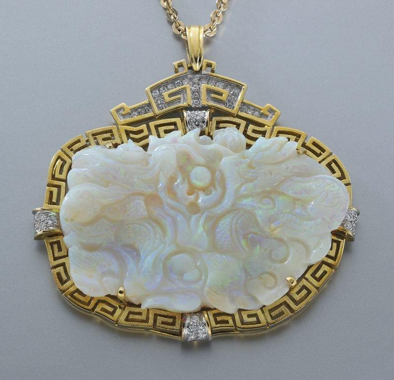 21: 14K gold, Australian opal and diamond brooch,