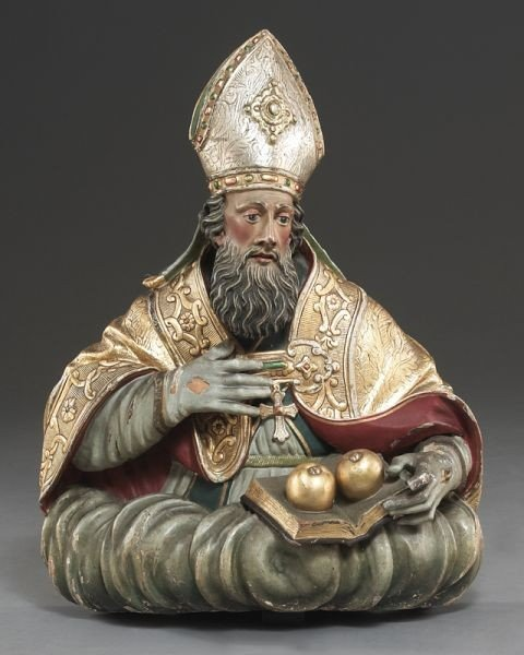 22: Gilt wood and polychrome carved religious figure