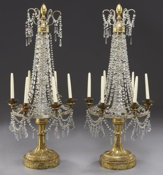24: Pr. Empire style gilt wood, cut crystal candelabra