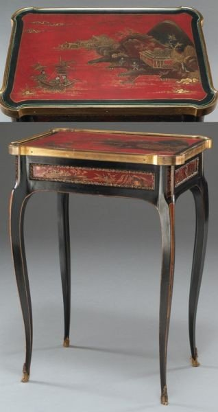 27: English chinoiserie decorated table, - 2