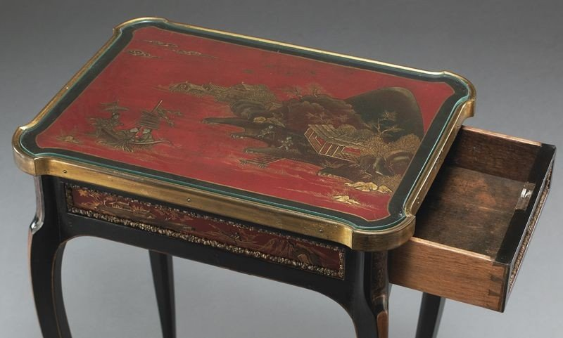 27: English chinoiserie decorated table, - 8