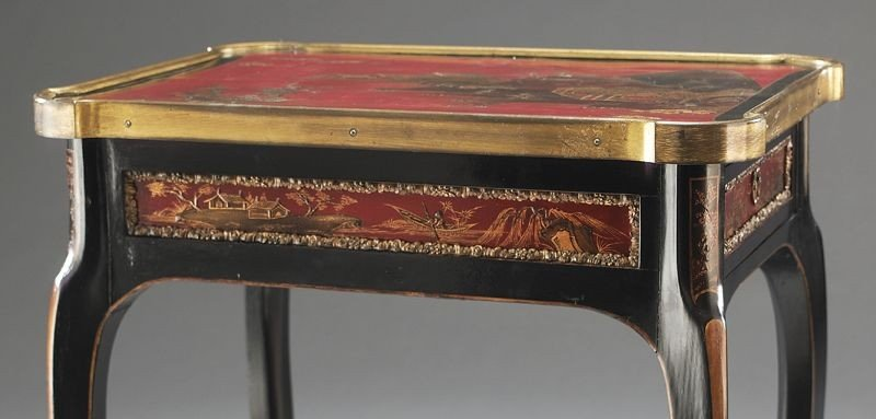 27: English chinoiserie decorated table, - 9